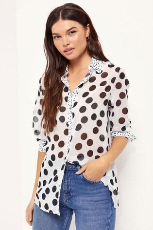 Lipsy Monochrome Spot Regular Printed Shirt