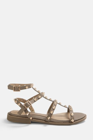 Missguided Neutral Dome Stud Gladiator Sandal
