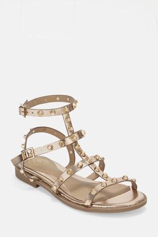 Missguided Rose Gold Dome Stud Gladiator Sandal