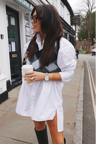In The Style White Lorna Luxe Oversized Poplin Shirt