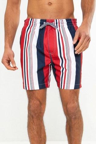 Threadbare Red Stripe Swim Shorts