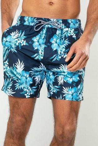 Threadbare Navy Floral Swim Shorts