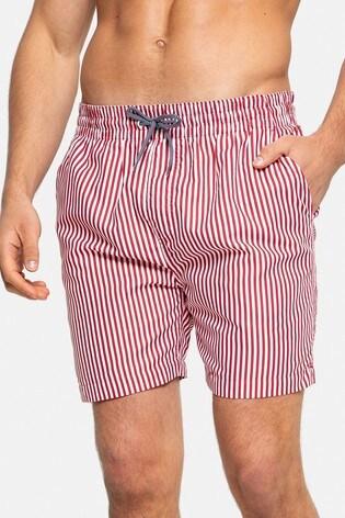 Threadbare Red and White Stripe Swim Shorts