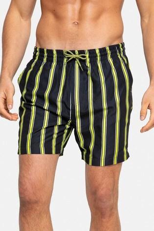 Threadbare Black Stripe Swim Shorts