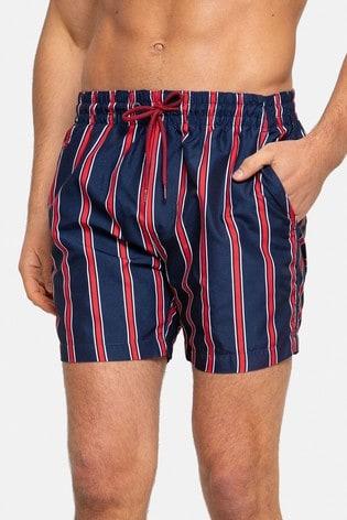 Threadbare Navy Stripe Swim Shorts