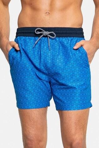 Threadbare Blue Geometric Print Swim Shorts