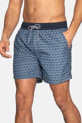 Threadbare Navy Geometric Print Swim Shorts