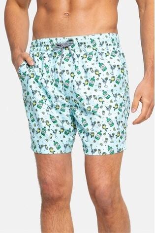 Threadbare Pale Blue Print Swim Shorts