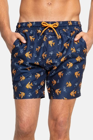 Threadbare Navy Fish Print Swim Shorts