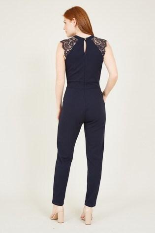 Mela Blue London Lace Keyhole Jumpsuit