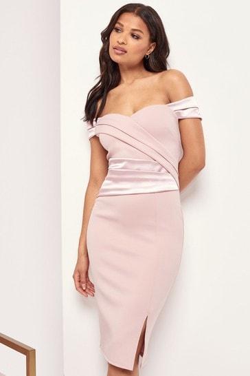 Lipsy Nude Pleated Bodycon Midi Dress