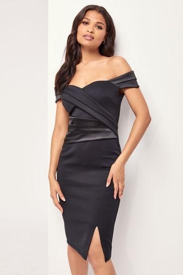 Lipsy Black Pleated Bodycon Midi Dress