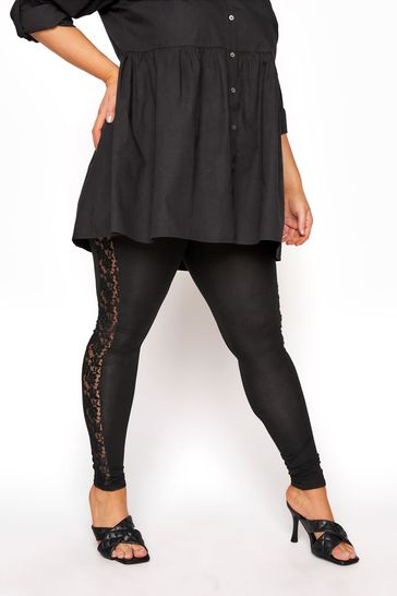 Yours Black Lace Panel Legging