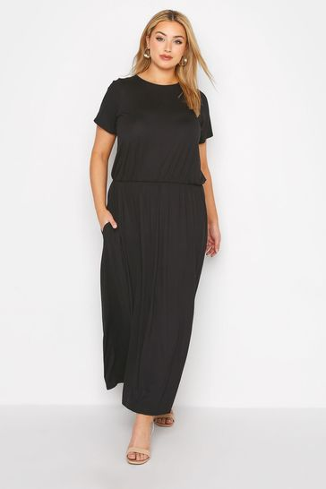 Yours Black Blouson Pocket Maxi Dress