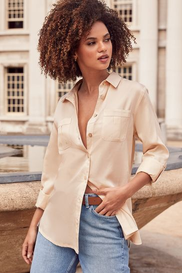 Lipsy Ivory Tencel Regular Relaxed Supersoft Utility Shirt
