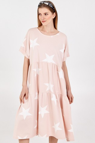 Blue Vanilla PINKWHITE Star Short Sleeve Tiered Dress
