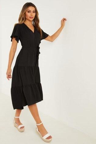 Quiz Black Wrap Dip Hem Dress