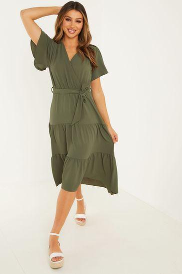 Quiz Green Wrap Dip Hem Dress