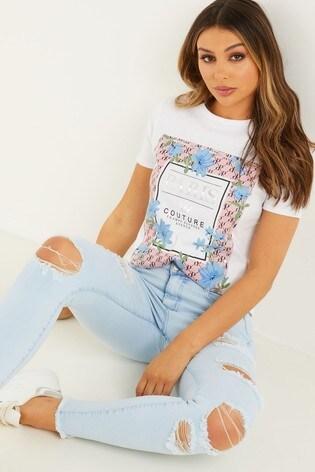 Quiz White Floral Print T-Shirt