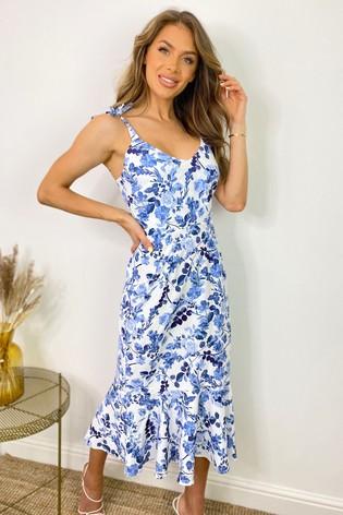 Sistaglam Blue Tie Shoulder Floral Midi Dress