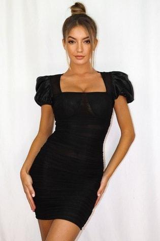 Missguided Black Mesh Puff Sleeve Milkmaid Mini Dress