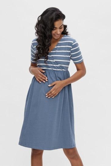 Mamalicious Blue & White Striped Maternity Nursing Wrap Dress