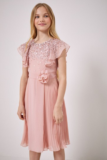 Lipsy Pink Ruffle Sequin Pleated Dress