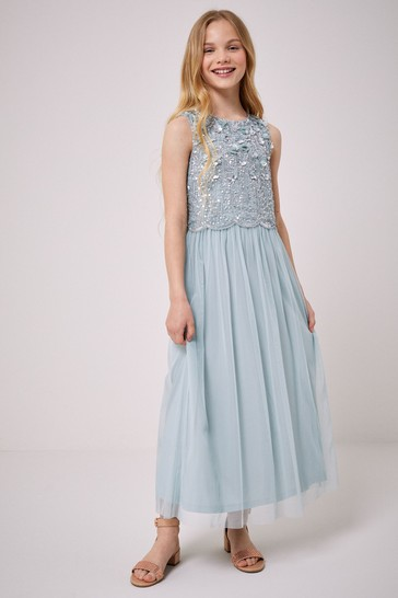 Lipsy Mint Green Sequin Top Tulle Maxi Dress