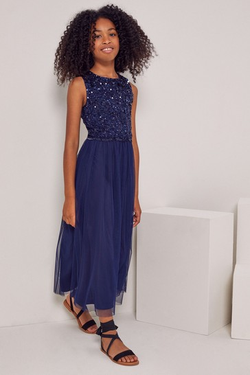 Lipsy Navy Blue Sequin Top Tulle Maxi Dress