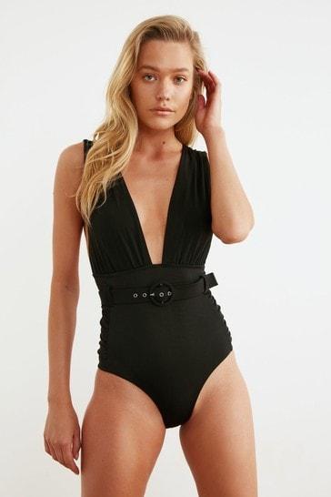 Trendyol Black Plunge Neck Belted Swimsuit