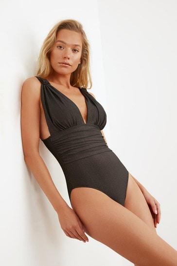 Trendyol Black Plunge Neck Ruched Waist Swimsuit