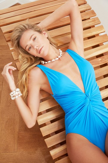 Trendyol Blue Plunge Ruched Body Swimsuit