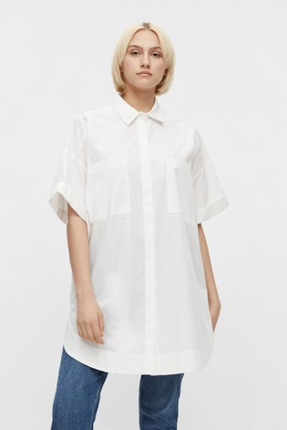 Pieces White Oversized Utility Shirt