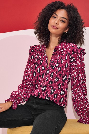 Love & Roses Berry Printed Patched Ruffle Shirt