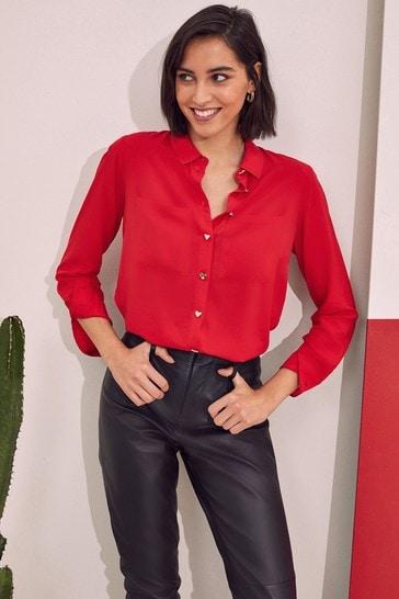 Love & Roses Red Regular Patch Pocket Shirt