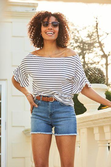 Sosandar white stripe Stripe Jersey Bardot Flute Sleeve Top