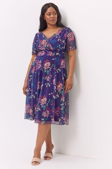 Scarlett & Jo Blue Victoria Vintage Oriental Print Purple Angel Sleeve Mesh Midi Dress