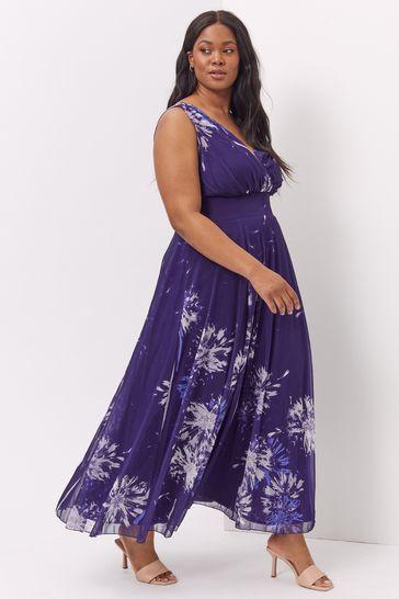 Scarlett & Jo Purple Purple Print Maxi Dress