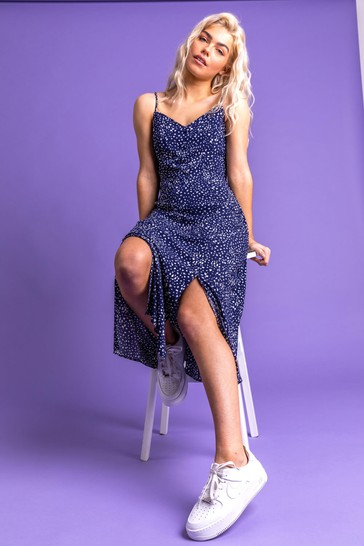 Dusk Blue Confetti Spot Print Midi Dress