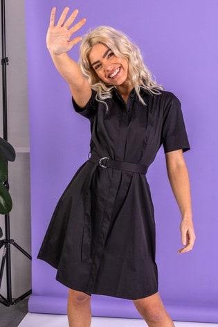 Dusk Black Cotton Belted Shirt Dress