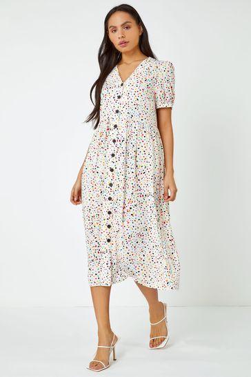 Dusk White Ditsy Spot Print Button Down Dress