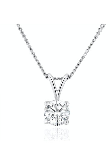 The Diamond Store White Lab Diamond Solitaire Pendant Necklace 0.33ct H/Si in 9K White Gold