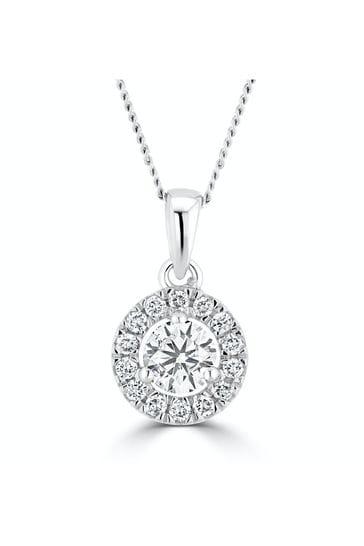 The Diamond Store White Lab Diamond Halo Necklace Pendant 0.50ct H/Si Set in 9K White Gold