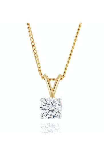 The Diamond Store White Lab Diamond Solitaire Pendant Necklace 0.33ct H/Si in 9K Gold