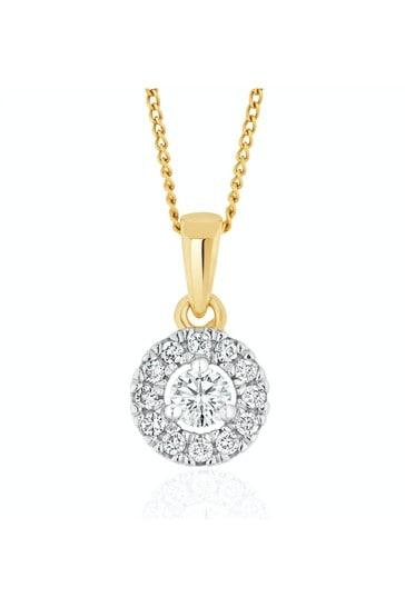 The Diamond Store White Lab Diamond Halo Pendant Necklace 0.25ct H/Si in 9K Gold