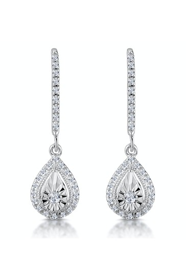 The Diamond Store White Masami Diamond Pear Halo Earrings 0.20ct Pave Set in 9K White Gold