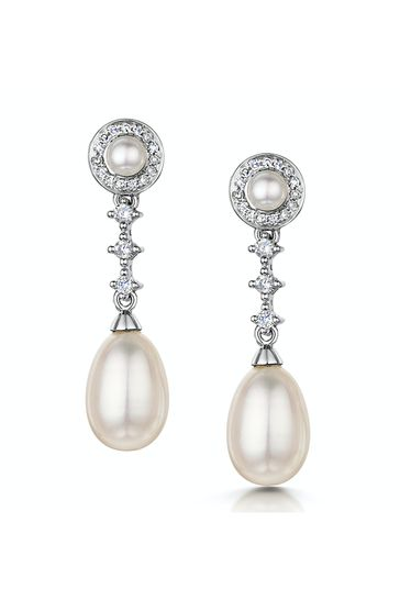The Diamond Store White Stellato Collection Pearl and Diamond Earrings in 9K White Gold