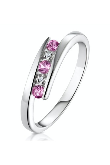 The Diamond Store Pink 9K White Gold Diamond and Pink Sapphire Ring