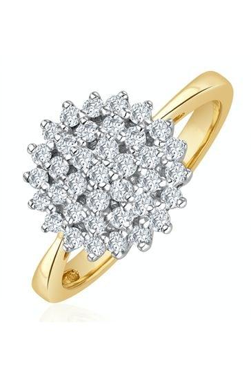 The Diamond Store White 9K Gold Diamond Cluster Ring 0.50ct