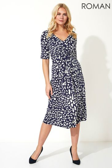 Roman Blue Animal Print Fit And Flare Dress